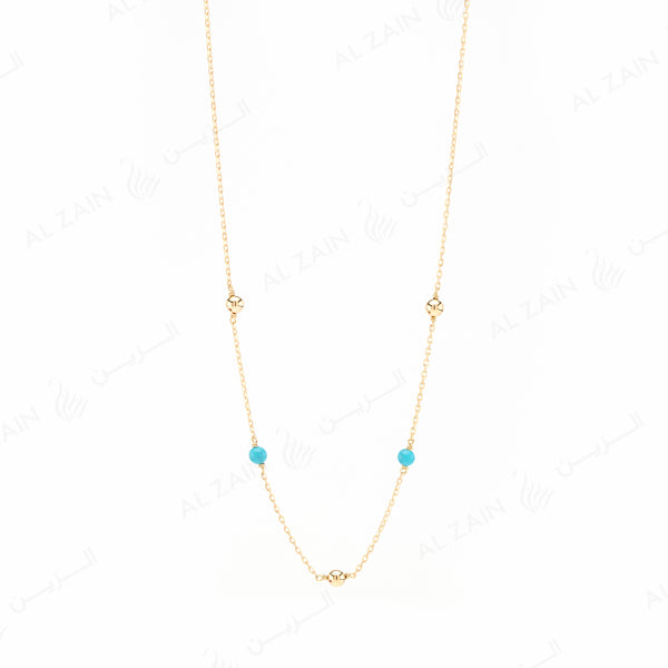 Kids gold ball necklace in yellow gold with turquoise stones - Al Zain Jewellery