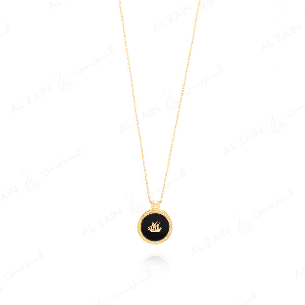 Kuwait Necklace in Yellow Gold with Onyx Stone