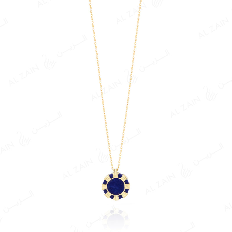 Cordoba necklace in yellow gold with lapis stones - Al Zain Jewellery