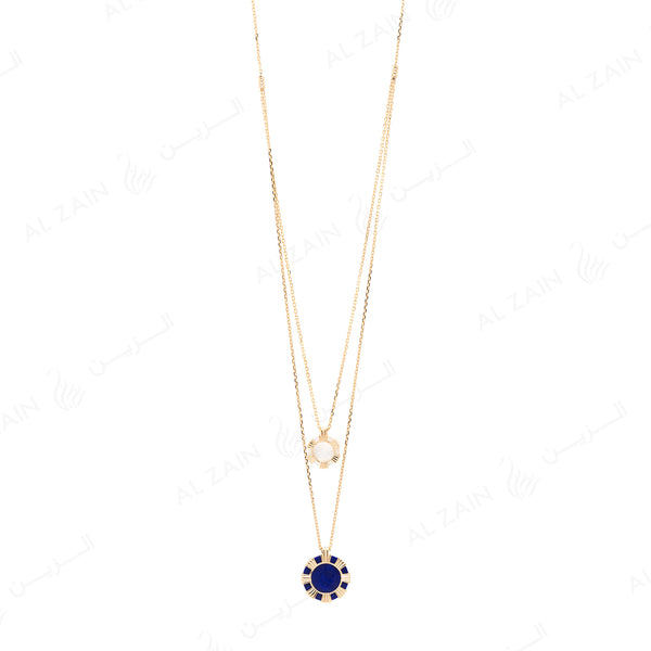 Cordoba necklace in yellow gold with lapis and mother of pearl stones - Al Zain Jewellery
