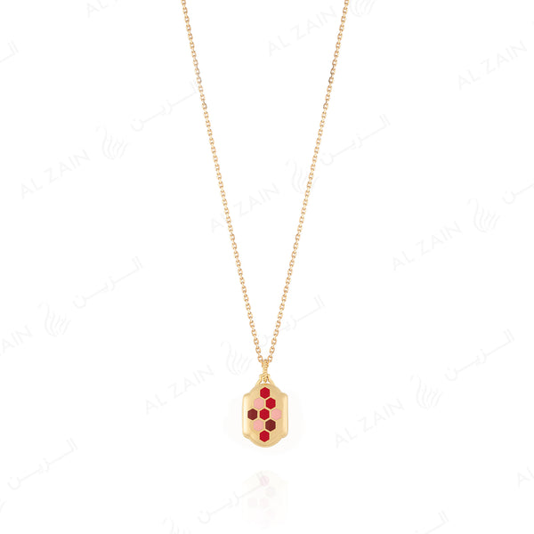 Talisman  pendant necklace with Enamel pattern and MashaAllah arabic calligraphy - Al Zain Jewellery