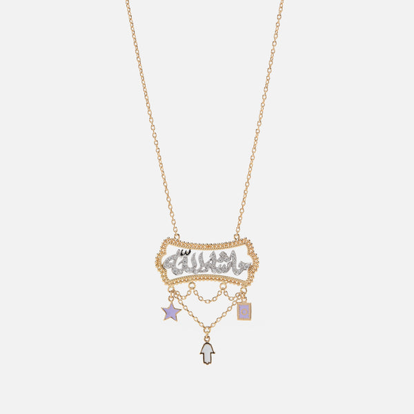 Kids Calligraphy Necklace in Yellow Gold with Diamonds & Enamel