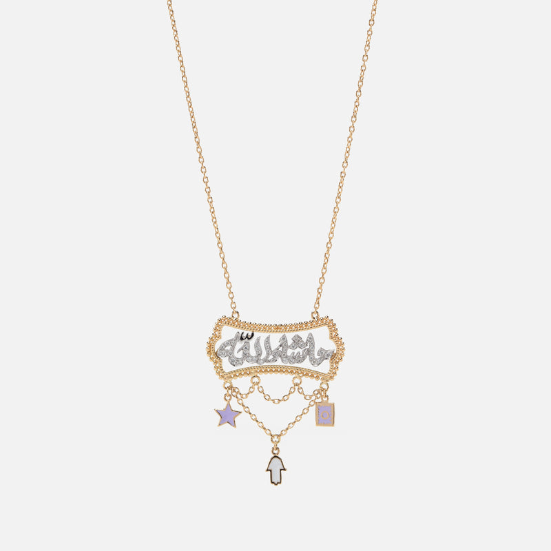 Kids Calligraphy Necklace in Yellow Gold with Diamonds & Enamel - Al Zain Jewellery