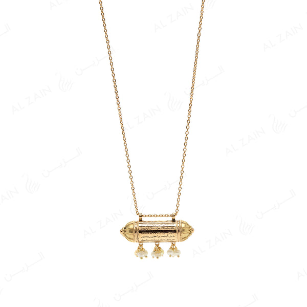 Kids Calligraphy Necklace in Yellow Gold with hanging natural pearls - Al Zain Jewellery
