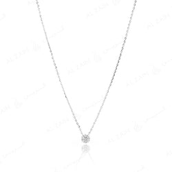 18k White gold pendant in round cut illusion set diamonds - Al Zain Jewellery