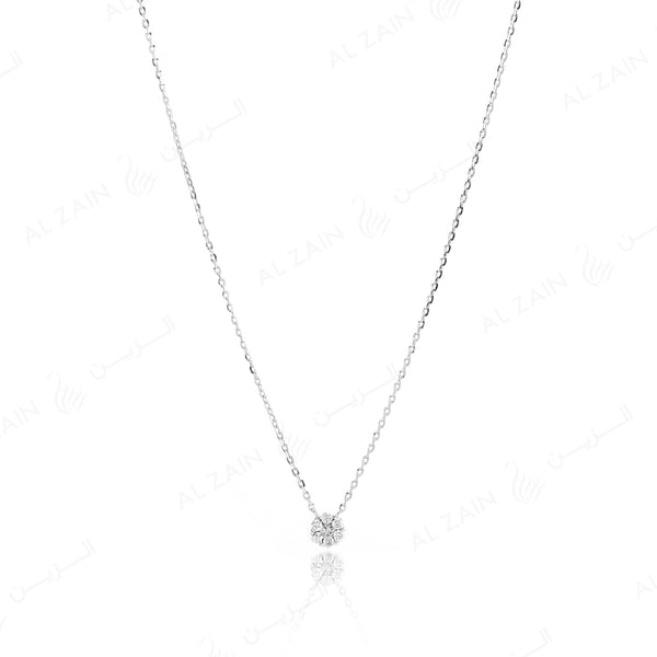 18k White gold pendant in round cut illusion set diamonds
