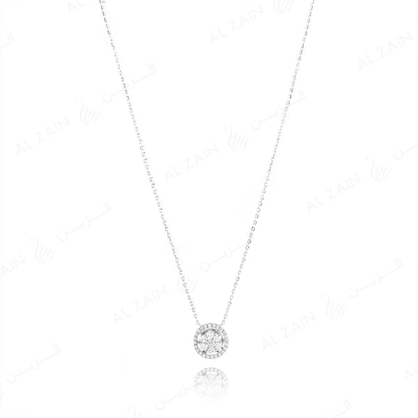 18k White gold pendant illusion set diamonds - Al Zain Jewellery