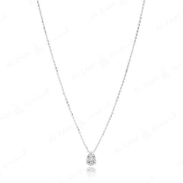 18k White gold pendant in pear cut illusion set diamonds - Al Zain Jewellery