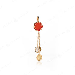 Cordoba Pendant in Yellow Gold with Red Agate & Mother of Pearl - Al Zain Jewellery