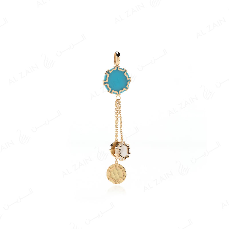 Cordoba Pendant in Yellow Gold with Lapis & Mother of Pearl - Al Zain Jewellery