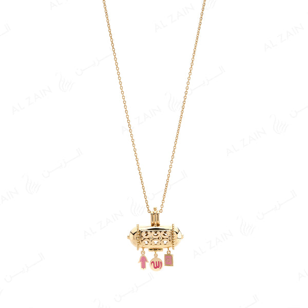 Kids Talisman Necklace in Yellow Gold & Pink Enamel - Al Zain Jewellery