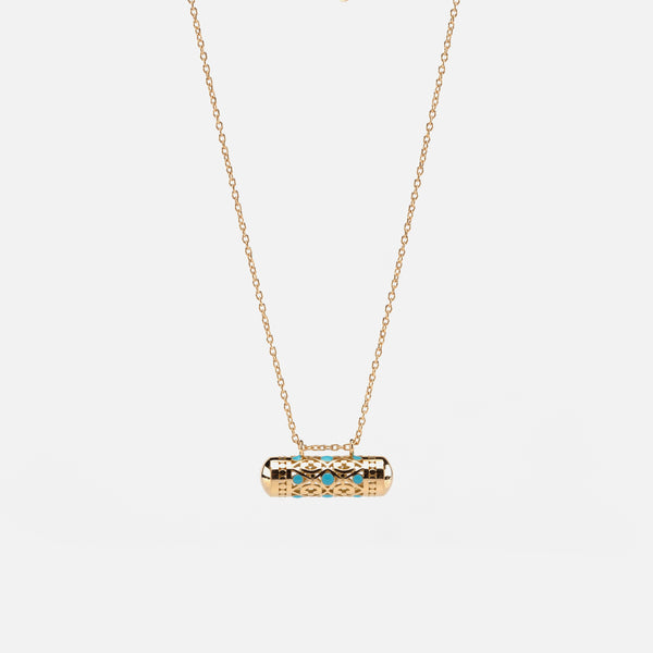 Kids Arabesque Necklace in Yellow Gold & Blue Enamel - Al Zain Jewellery