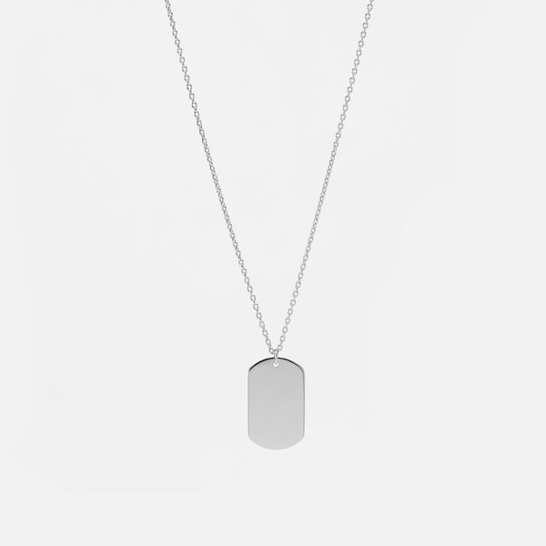 Kids Tag Necklace in White Gold - Al Zain Jewellery