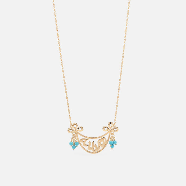 Kids Calligraphy Necklace in Yellow Gold with Turquoise Beads