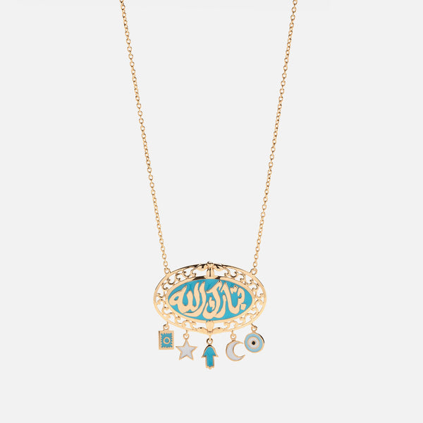 Kids Calligraphy Necklace in Yellow Gold with Enamel