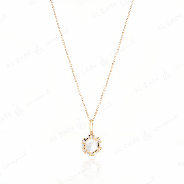Cordoba Kids Necklace in Yellow Gold with Mother of Pearl Stone - Al Zain Jewellery
