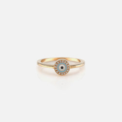 Evil Eye Ring in Yellow Gold with Diamonds