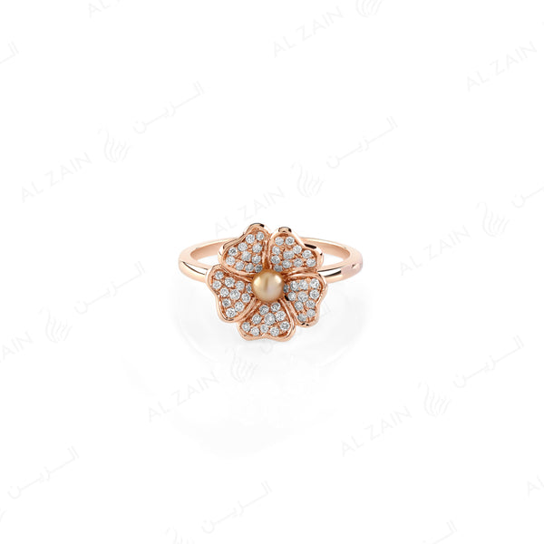 Natural Pearl Ring in Rose Gold with Diamonds - Al Zain Jewellery