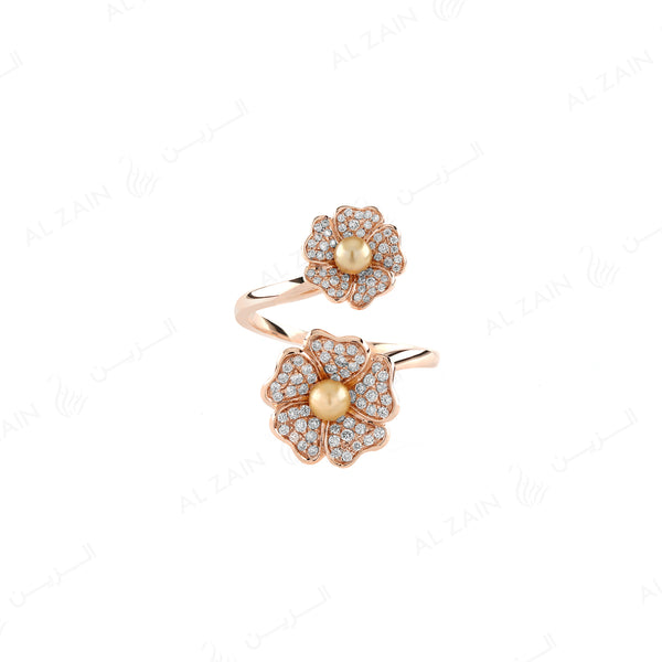 Natural Pearl Ring in Rose Gold with Diamonds