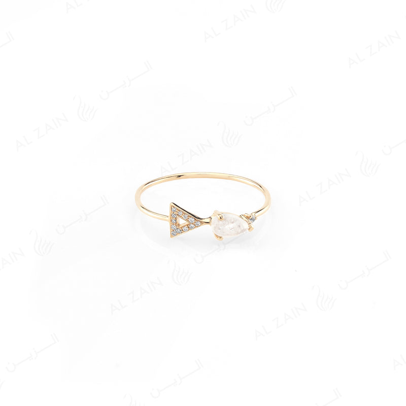 Melati triangle ring in Yellow Gold with Moon Stone and Diamonds - Al Zain Jewellery