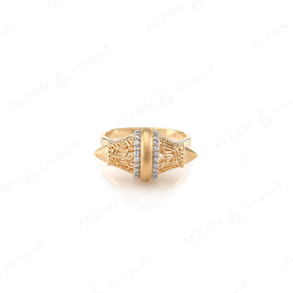 Al Merriyah Ring in Yellow Gold with Diamonds - Al Zain Jewellery