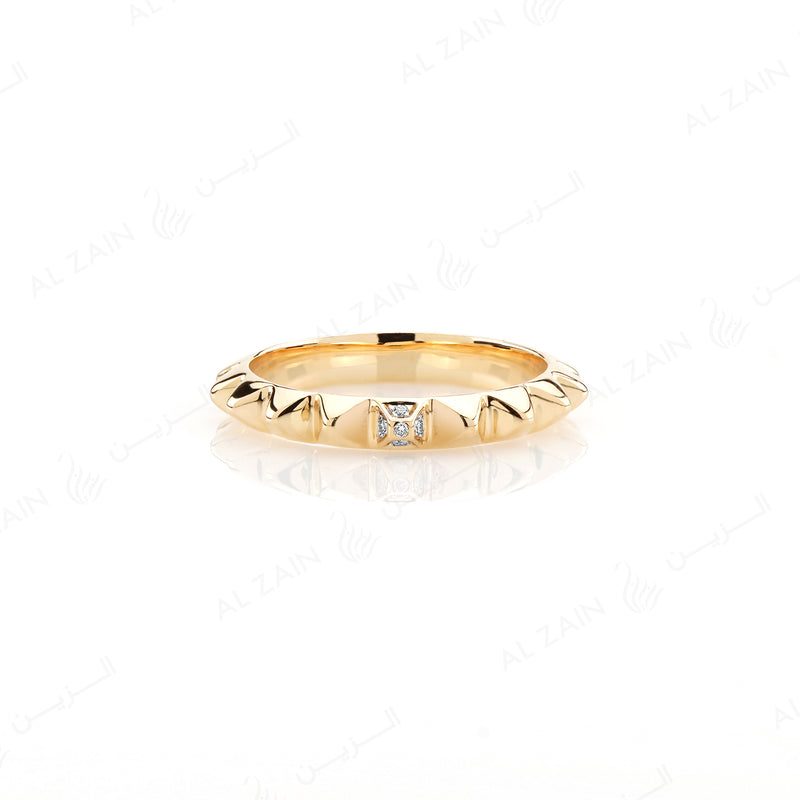 Hab El Hayl 2nd Edition Ring in Yellow Gold with Diamonds - Al Zain Jewellery