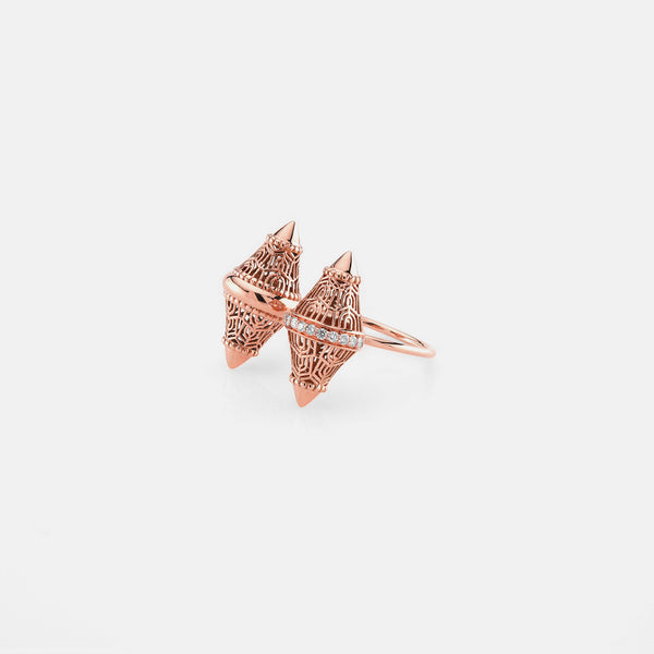 Al Merriyah rosegold edition. Polished finish ring with diamonds - Al Zain Jewellery