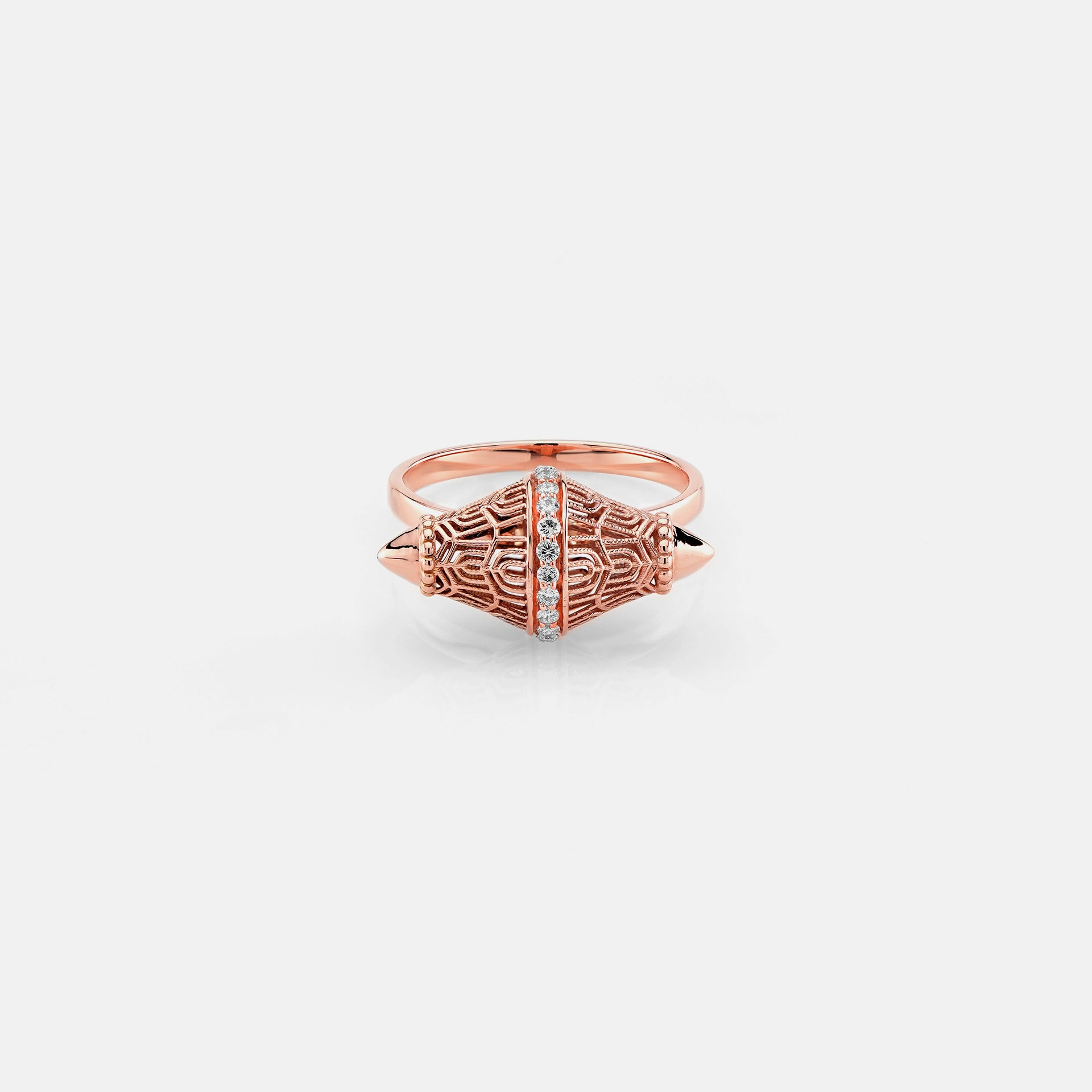 Al Merriyah rosegold edition. 18k Polished finish ring with diamonds - Al Zain Jewellery