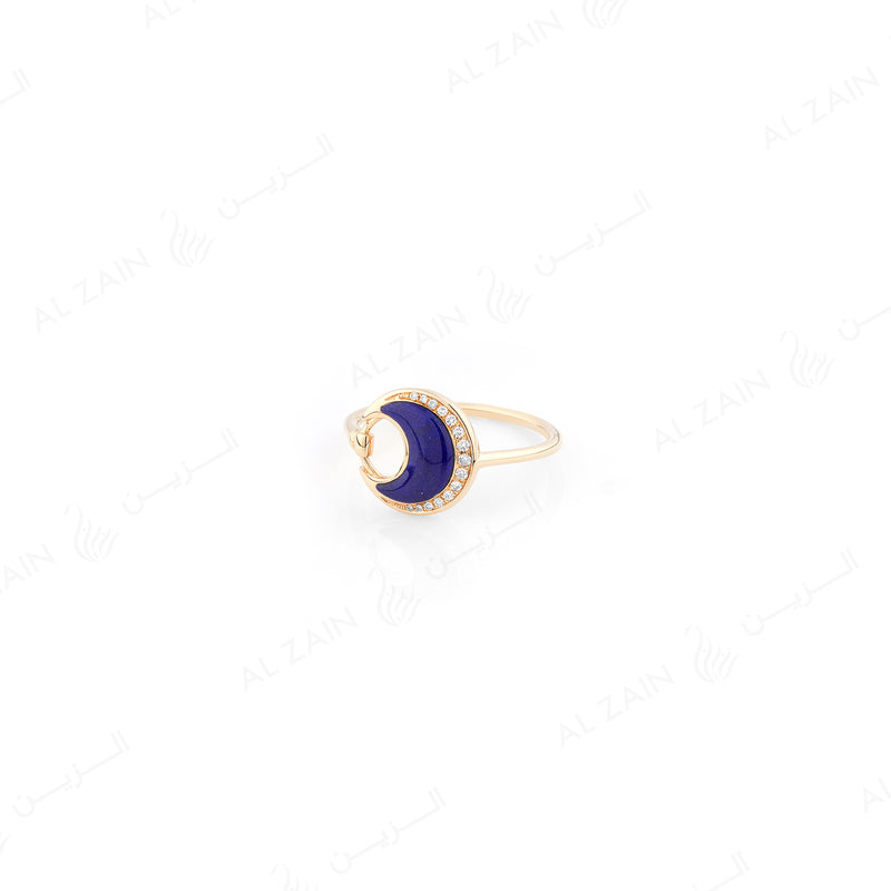 Al Hilal ring in yellow gold with lapis stone and diamonds - Al Zain Jewellery
