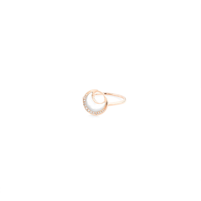 Al Hilal ring in rose gold with mother of pearl stone and diamonds - Al Zain Jewellery