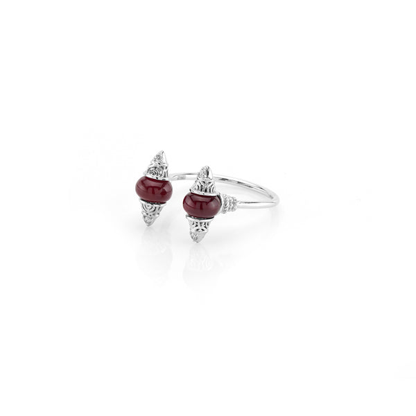 Al Merriyah mood colour ring in white gold with ruby stones and diamonds