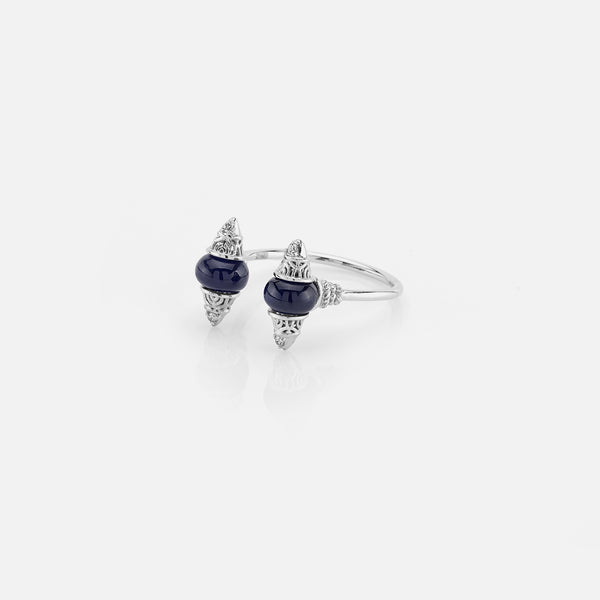 Al Merriyah mood colour ring in white gold with sapphire stones and diamonds