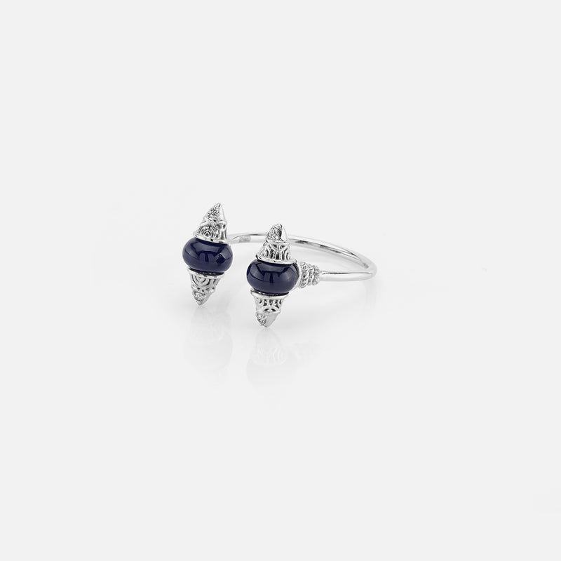 Al Merriyah mood colour ring in 18k white gold with sapphire and diamonds - Al Zain Jewellery