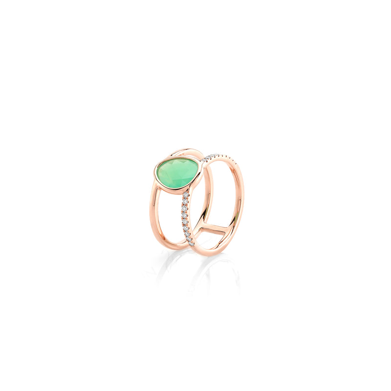 Simply Nina ring in 18k rose gold with Chrysoprase stone and diamonds