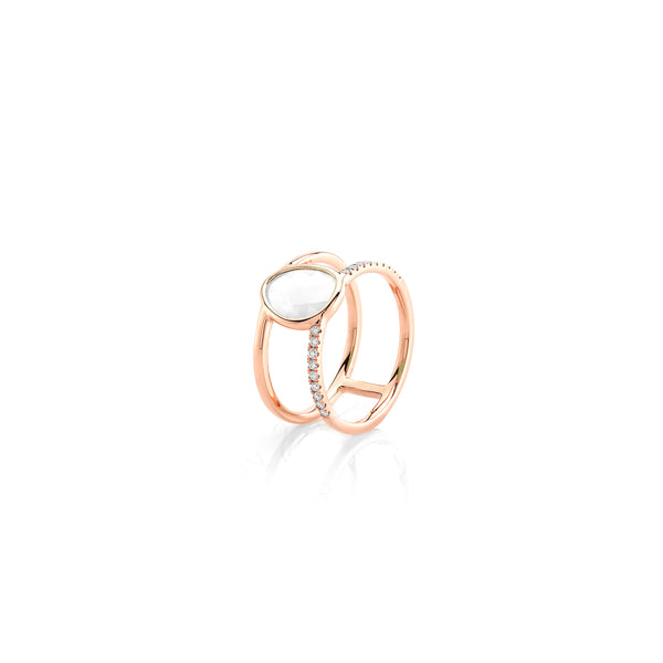 Simply Nina ring in 18k rose gold with Mother of Pearl stone and diamonds - Al Zain Jewellery