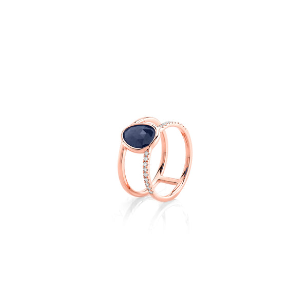 Precious Nina Ring in 18k Rose Gold with Sapphire Stones and Diamonds