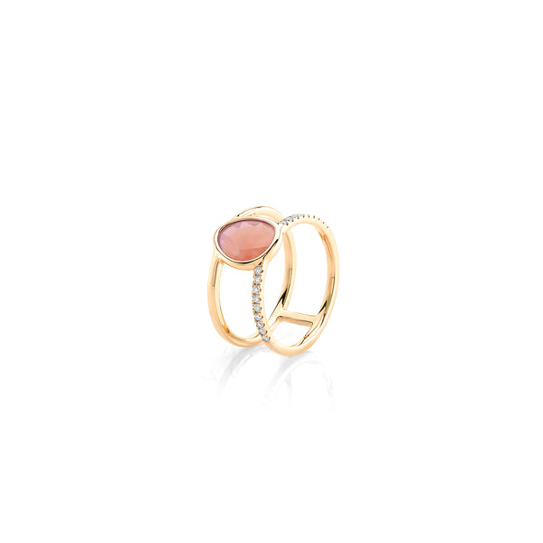 Simply Nina ring in 18k yellow gold with Opal stone and diamonds - Al Zain Jewellery