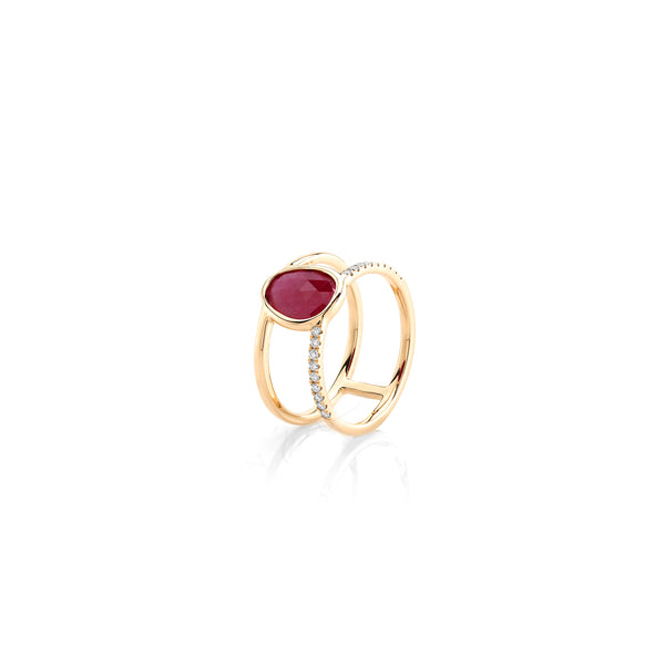 Precious Nina Ring in 18k Yellow Gold with Ruby Stones and Diamonds