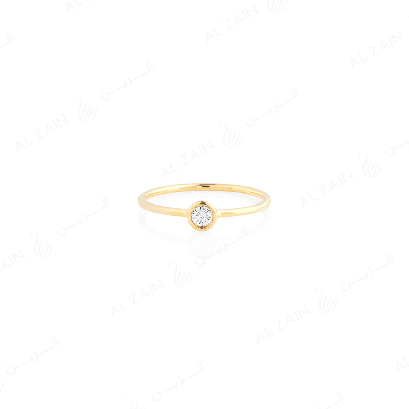 Al-Nada ring in yellow gold with diamond - Al Zain Jewellery
