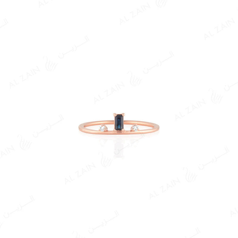Mystique ring in rose gold with diamonds and sapphire stone