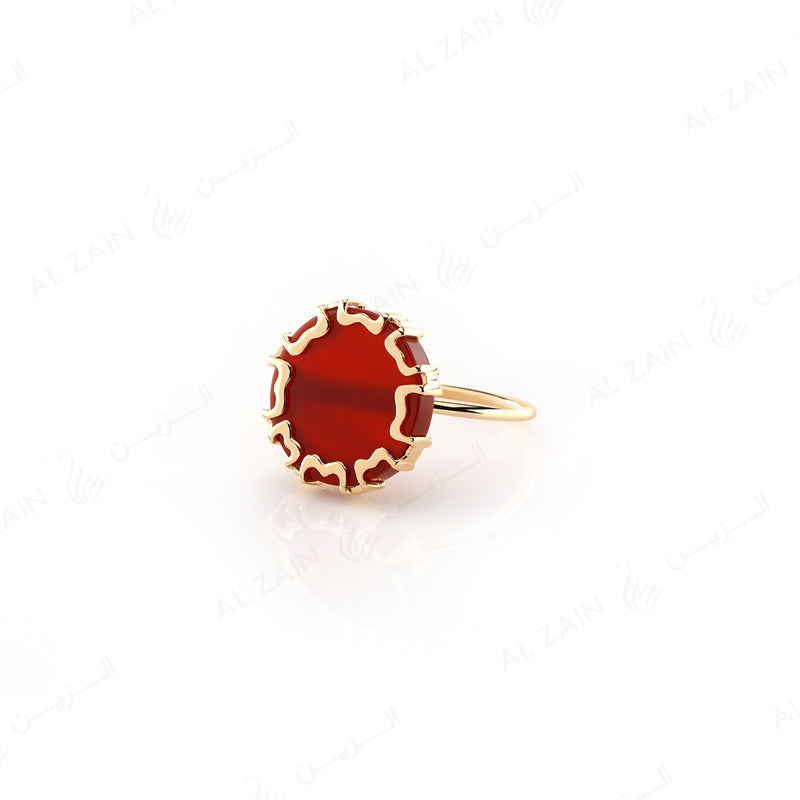 CORDOBA RING IN YELLOW GOLD WITH RED AGATE - Al Zain Jewellery
