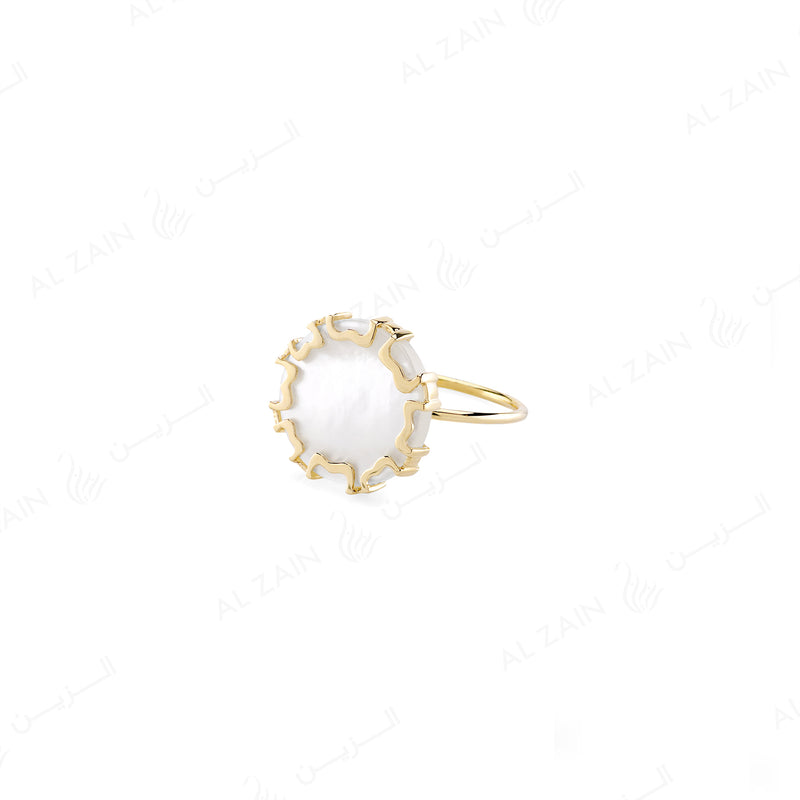 CORDOBA RING IN YELLOW GOLD WITH MOTHER OF PEARL - Al Zain Jewellery