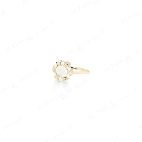 Cordoba ring in yellow gold with mother of pearl stone - Al Zain Jewellery