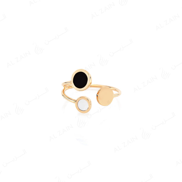 Yellow Gold Dusk till Dawn Ring with Onyx and Mother of Pearl