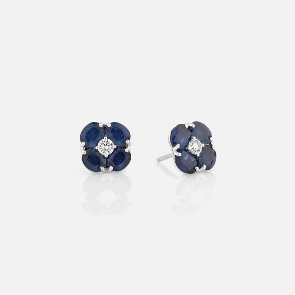 Precious Petals Earrings in 18k White Gold with Diamond and Sapphire - Al Zain Jewellery