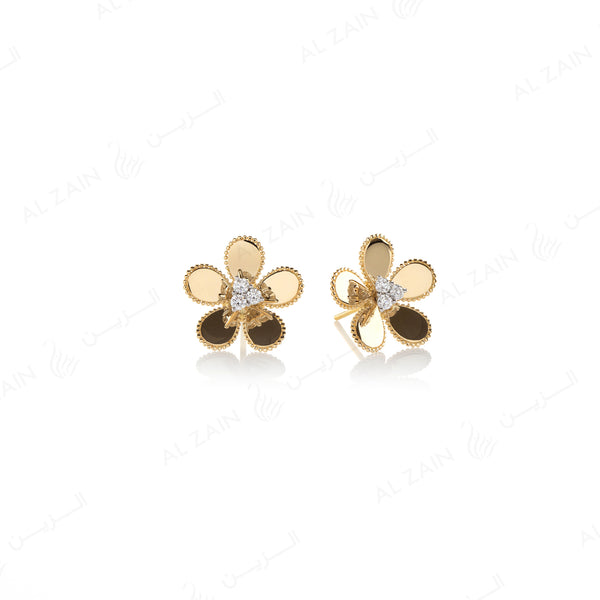 Blomme Earring in Yellow Gold with Diamonds