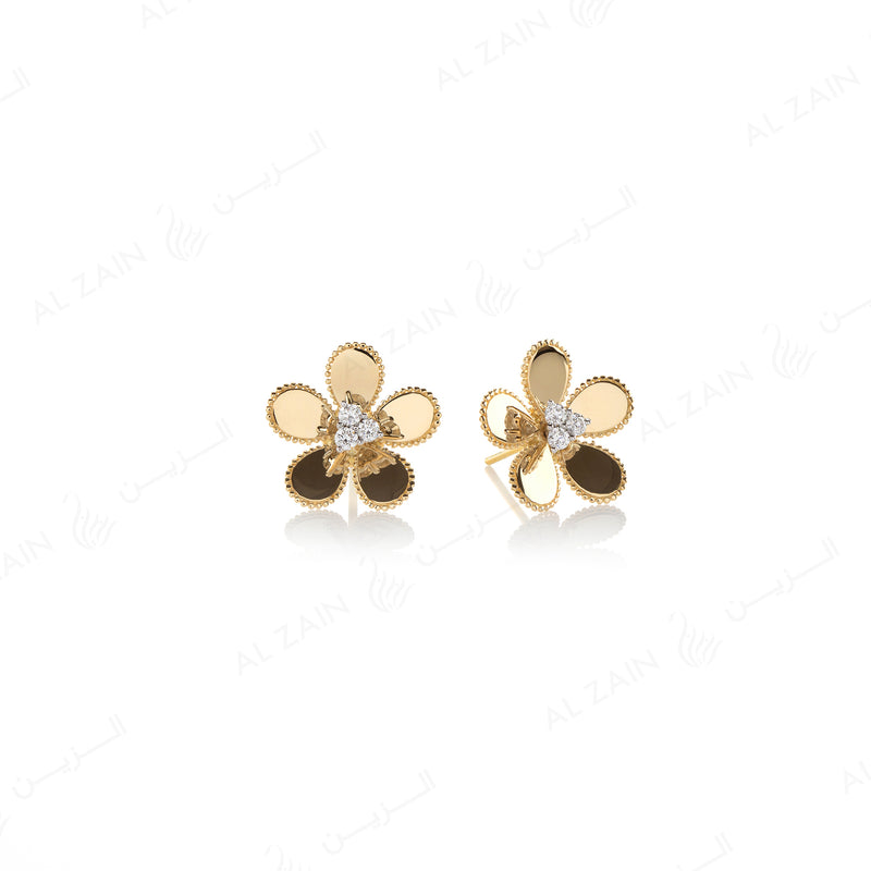Blomme Earring in Yellow Gold with Diamonds - Al Zain Jewellery
