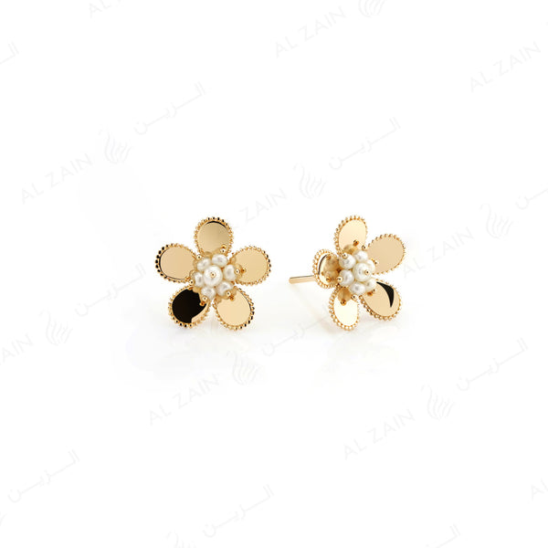 Blomme Earring in Yellow Gold with Natural Pearls - Al Zain Jewellery