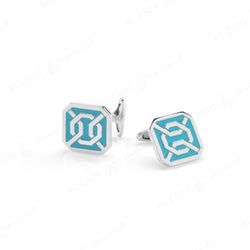 Cordoba Mens Cufflinks in Silver with Enamel - Al Zain Jewellery