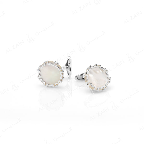 Cordoba Men's Cufflinks in Silver with Mother of Pearls - Al Zain Jewellery